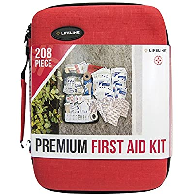 Tactical First Aid Kit: Lifeline 4038 Red Premium Hard Shell First Aid Kit - 208 Piece from Lifeline