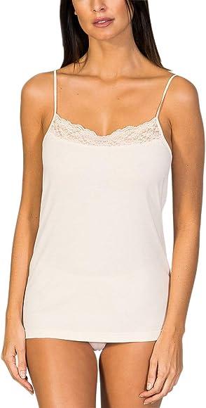 ZD ZERO DEFECTS Camiseta Interior de Tirante de Mujer con blonda- Cuello Recto- Hilo de Soja Color Cava- - Talla 38: Amazon.es: Ropa y accesorios