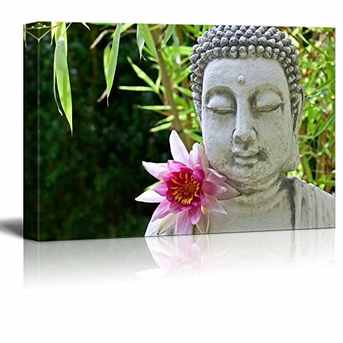 wall26 - Canvas Prints Wall Art - Buddhist Statue in Zen Garden | Modern Wall Decor/Home Decoration Stretched Gallery Canvas Wrap Giclee Print. Ready to Hang - 32