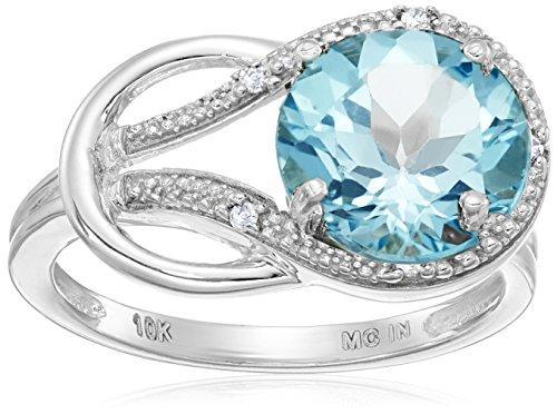 Blue Topaz and Diamond Accent Love Knot Ring in 10k White Gold, Size 7 (Knot Ring With Diamonds)