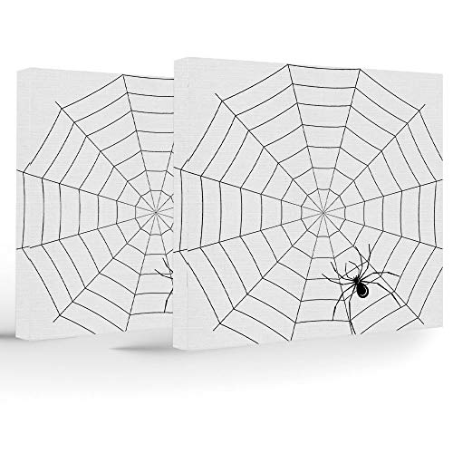 Canvas Print,Spider Web,Home Decoration Stretched Gallery Canvas Wrap HP Print & Ready to Hang,Toxic Poisonous Insect Thread Crawly Malicious Bug Halloween Character Design Decorative for $<!--$51.99-->