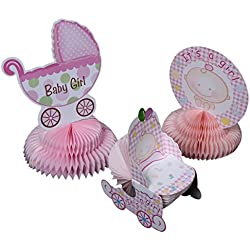 Baby Shower Decorations - 6 Pieces Girl Theme Baby Shower Table Centerpieces Party Supplies, Pink