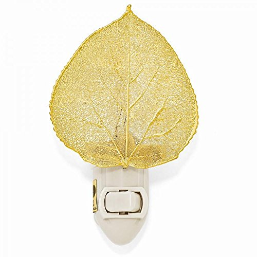 Iridescent Copper or 14kt Gold Dipped Real Aspen Leaf Nightlight -Made in USA (Gold)