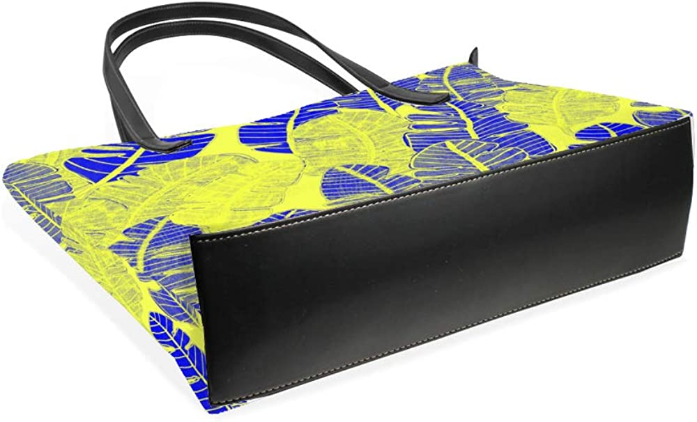 ZhiMi Women Hadbag Microfiber Leather Double Sided Printed 40 x 29 x 9cm Hand Drawn Tropical Leaves