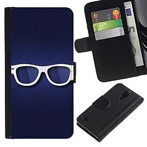 SAMSUNG Galaxy S4 IV / i9500 / SGH-i337 , la tarjeta de Crédito Slots PU Funda de cuero Monedero caso cubierta de piel ( Glasses Hipster Eye White Blue Symbol)