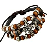 TEMEGO Jewelry Mens Womens Genuine Leather Vintage Gothic Wood Beads Cross Wrap Charm Cuff Bracelet, Adjustable Fits 7-12 inch, Black Brown Silver