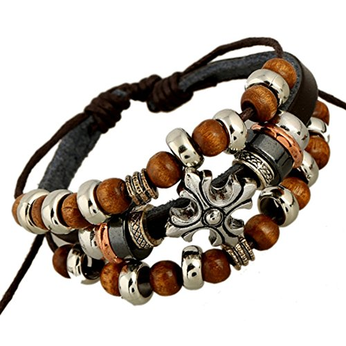SumBonum Jewelry Womens Genuine Leather Vintage Gothic Wood Beads Cross Surfer Wrap Cuff Charm Bracelet, Adjustable Fits 7 Inch-12 Inch, Black Brown Silver