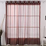 Deconovo Grommet Bedroom Curtains Wide Width Curtain Linen Look Voile Panel for Kitchen Brown 80×84 Inch 1 panel Review