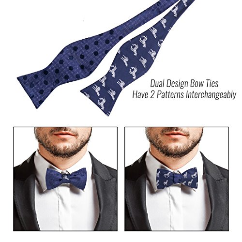 Style Flat Reversible Set Self BMC Tied Design Bow 3pc Mens Tip 4 Ties wqY18