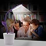 LED Desk Table Lamp with Rechargeable USB Cable,Reading Night Light for Kids, Flexible Neck, 3 Levels of Dimmable Touch-Sensitive Bedroom Bedside Lampand Cute Plant Pen Holder (Purple)