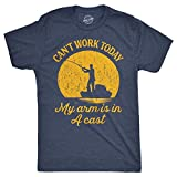 Mens Can't Work Today My Arm is in A Cast T-Shirt Funny Fishing Graphic Top Guys (Heather Navy) - XXL