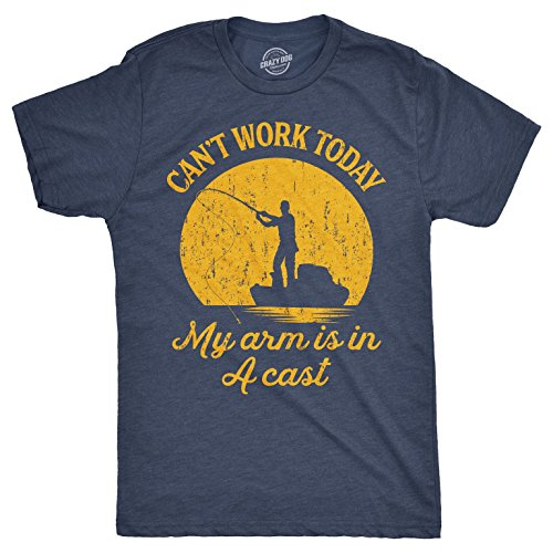 Mens Can't Work Today My Arm is in A Cast T-Shirt Funny Fishing Graphic Top Guys (Heather Navy) - XL ()