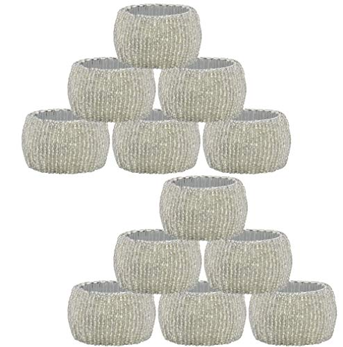 COTTON CRAFT - 12 Pack Beaded Napkin Ring Set - Silver - Hand Made by Skilled artisans - A Beautiful complement to Your Dinner Table décor
