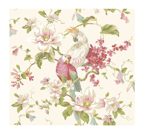 (York Wallcoverings AK7458 Ashford House Blooms Tropical Birds with Magnolias, White/Off Whites )
