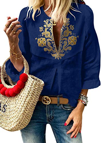 LOSRLY Womens Summer 3/4 Frill Sleeve V Neck Tribal Print Casual Blouses Ethnic Style Embroidered Shirts L Blue04