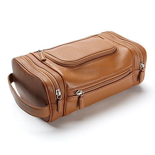 Multi Pocket Toiletry Bag - Full Grain Leather - Cognac (brown) by Leatherology