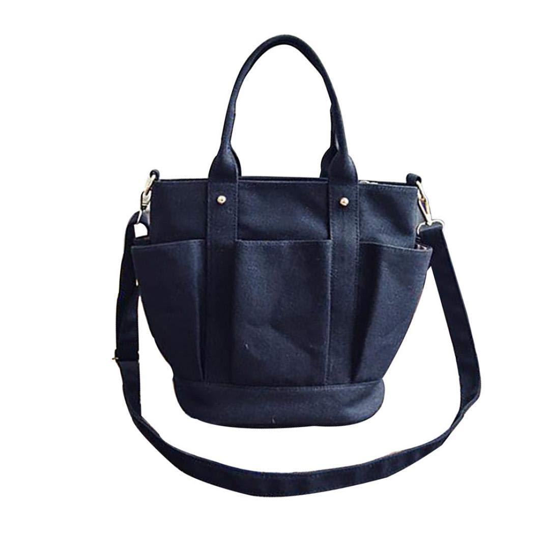 Bolayu Fashion Women Bag Lantern Type Canvas Bag Handbag Tote Bag Canvas bag Handbags (Black)