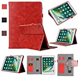 New iPad Pro 10.5 inch 2017 Case, Arukas Premium Leather Folio Flip Smart Protective Cover Case With Card Slots & Pencil Holder & Magnetic Wake/Sleep For Apple iPad Pro 10.5 Inch 2017 (Red)