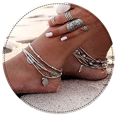 Ring Ankle Bracelet - Aukmla Bead Anklet Beach Ankle Bracelet Foot Chain Barefoot Sandal Adjustable for Women and Girls (Silver Beads)