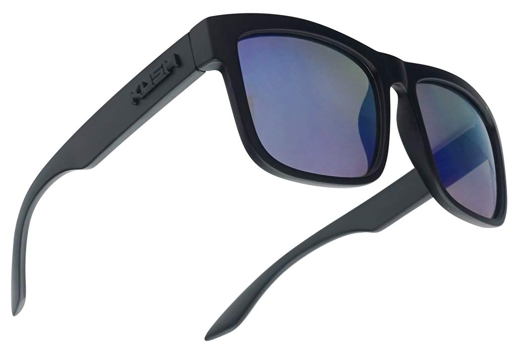 Classic Squared Horn Rim KUSH Sunglasses Street Sporty Active Eye Shades W/Mirror Lens (Black Frame | Blue) by Kush
