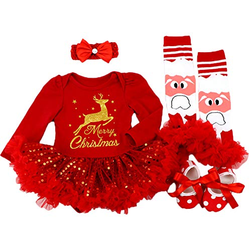 (BabyPreg Baby Girls My First Christmas Santa Costume Party Dress 4PCS (Deer Red Long, M for 6-9)