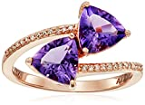 10k Rose Gold Two Stone Trillion Amethyst with Diamond Accent Ring, Size 7