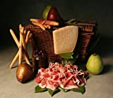 Prosciutto and Parmigiano Artisanal Food Gift Basket by Manhattan Fruitier with Prosciutto, Parmigiano-Reggiano, Italian Breadsticks, Tunisian Black Olives, and Two Pieces of Premium Fresh Fruit.