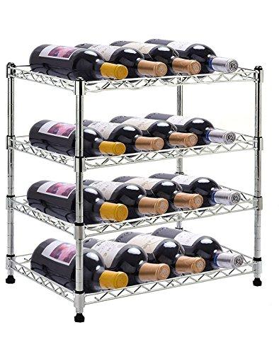 CWY Metal Wine Holder Bottle Rack for 16 Bottles + Free E-Book