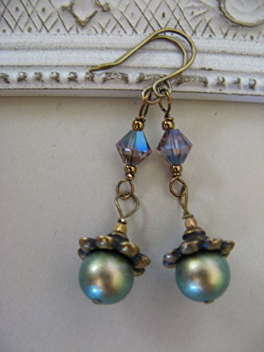 (Authentic Iridescent Green Swarovski Glass Pearl Earrings Bronze Vintage-Style Artisan Flower Caps)