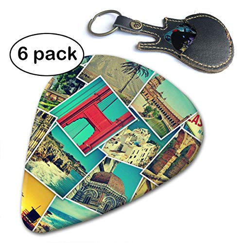 (Holiday MosaicDifferent Places Landmarks Snapshots Guitar Picks (6-Pack) for Acoustic Electric and Bass Guitars.46mm)