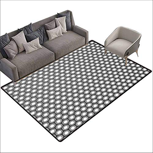 Dining Table Rugs Grey,Shadowed Holes Circular with Disc Forms Unusual Round Artful Styled Figures Pattern Design,White 80