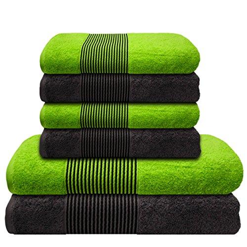 Liness-Stripes 6 tlg Handtuch-Set 4 Handtücher 50x100 cm 2 Duschtücher Badetücher 70x140 cm 100% Baumwolle grau-anthrazit grün