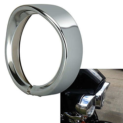 OVOTOR 7inch Harley Davidson Headlight Trim Ring Visor for 94-14 FLHR Touring Electra Glide Motorcycle Chrome Pack of (Chrome Headlight Trim Rings)
