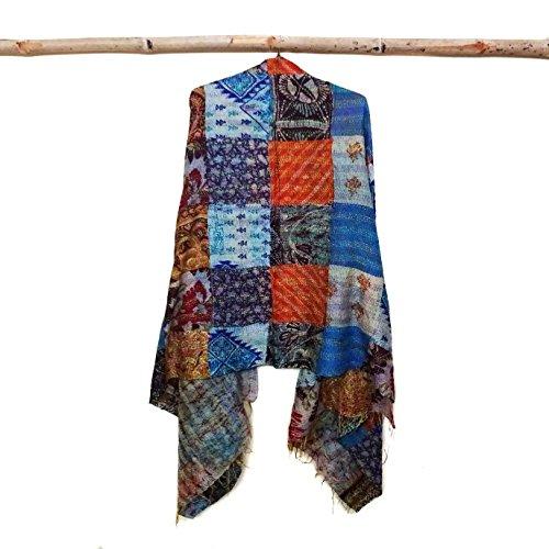 Silk Scarf Neck Wrap Stole patchwork Kantha patchwork Scarf Veil Boho Scarves