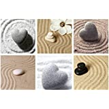 Live Art Decor - Zen Stones and Sand Canvas Prints,Relaxed Living Room Bedroom Wall Decoration Art,6 Pieces Calmness Nature Wall Art,Framed