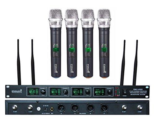 Karaoke System Club (STARAUDIO SMU-4000A Pro 4 Channel UHF Diversity Wireless DJ Stage Church Club Karaoke KTV Handheld Microphone System Mic)