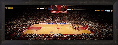 NBA Finals Bulls vs Suns, Chicago Stadium by Panoramic Images Framed Art Print Wall Picture, Espresso Brown Frame, 29 x 11 inches