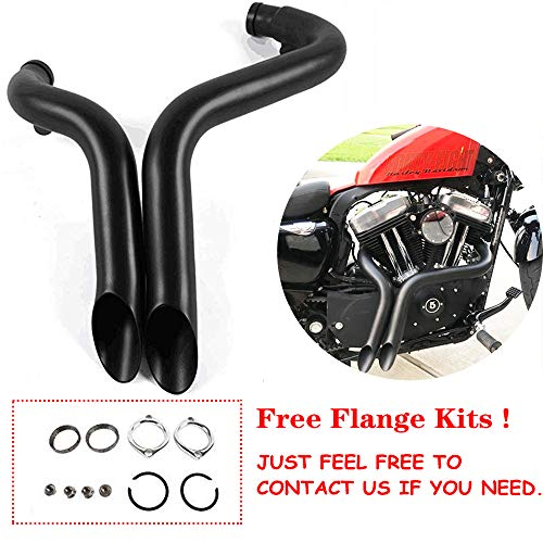"JFG RACING 2"" Drag Pipes Exhaust For Harley Davidson Sportster 883 1200 1986-2013 - Black"