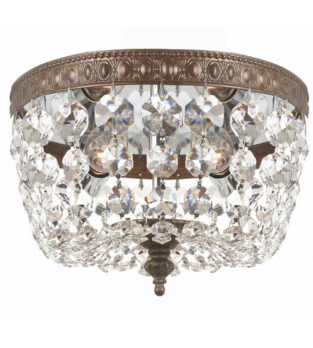 (Flush Mounts 2 Light With English Bronze Clear Swarovski Strass Crystal Cast Brass 8 inch 120 Watts - World of Lighting )