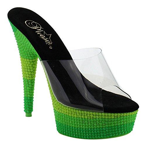 Pleaser DELIGHT-601UVS - Zuecos para mujer Clr/Neon Multi Green