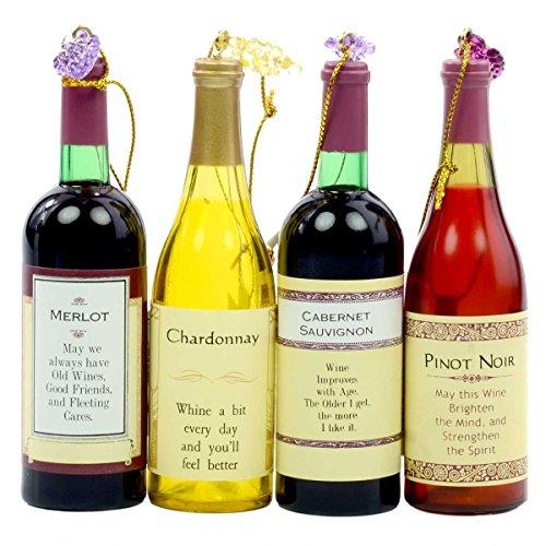 Kurt Adler Set of Four Assorted Acrylic Wine Bottle Christmas Ornaments