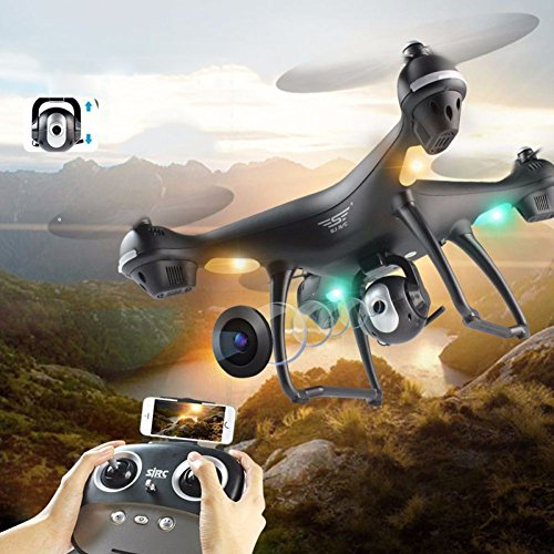 VGHJK Remote-controlled And Mobile Phone APP Control Drone Synchronous Transmission Aerial Photography Flight Time:12-15 Minutes And Max Flight Height:500 Meters(English Version),Black (Cell Flight)