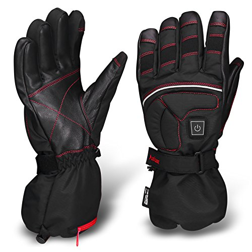 Antizer Heated Motorcycle Gloves Include Black and Red color, 12V Rechargeable 2500mA Battery (X-Large) (Heated Cycle Gloves compare prices)