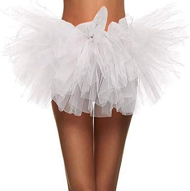Ruiuzi Tutu Falda de Mujer Falda de Tul 50s Short Ballet 5 Capas ...