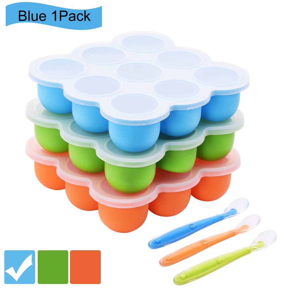 Silicone Food Storage Freezer Tray with Clip-On Lids+Spoon,Baby Food Containers-9 Large Cup BPA Free Perfect for Homemade Baby Food,Safety&Reusable(Blue) by Bochionyu