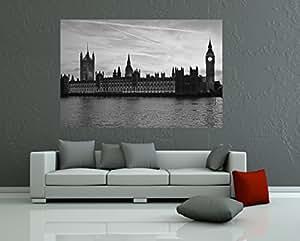 Bilderdepot24 Fotomural Big Ben Temse Londres - negro y blanco 135x90 cm - Papel tejido-no tejido. Fotomurales - Papel pintado - la fabricación made in Germany!