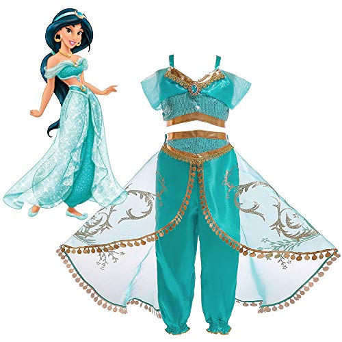 Girls Aladdin's Lamp Jasmine Princess Costumes Cosplay for Children Halloween Party Belly Dance Dress Indian Princess Costume (150)]()