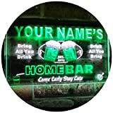 AdvpPro 2C Personalized Your Name Custom Home Bar Beer Est. Year Dual Color LED Neon Sign White & Green 12'' x 8.5'' st6s32-p-tm-wg