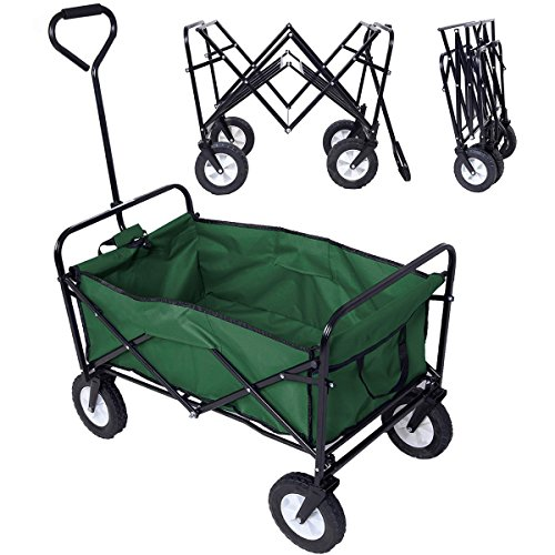 Polar Aurora Folding Collapsible Utility Wagon Cart Shopping Sports Garden Beach Wagon Cart Three Colors (Green)