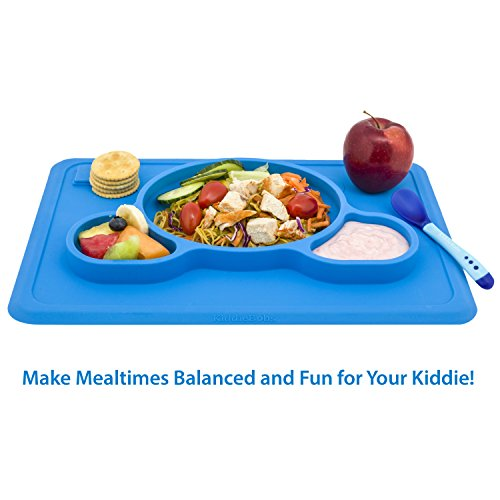 Toddler Placemat + 2 Spoons \u2013 No More Mess \u2013 BPA Free Silicone Plate Set \u2013 Improved Non-slip Suction \u2013 Baby Table Place Mat for Babies Infants Toddlers ...  sc 1 st  Cool Kitchen Gifts & Toddler Placemat + 2 Spoons \u2013 No More Mess \u2013 BPA Free Silicone ...